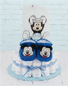 gifts: Cuddled Up With Mickey Mouse Nappy Cake!