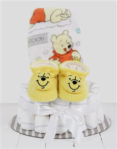 gifts: Cuddled Up With Winnie The Pooh Nappy Cake!