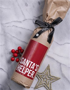 gifts: Santas Helper Wine in Craft Paper!