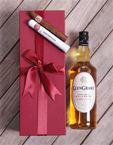 gifts: Red Box of Glen Grant with Cuban Cigar!