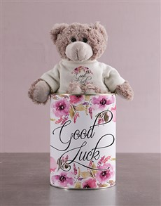 flowers: Teddy in a Good Luck Tin!