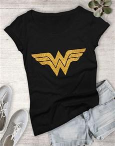 gifts: Glitter Wonder Woman Ladies T Shirt !