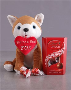 gifts: Fox Plush And Chocolate Hamper!