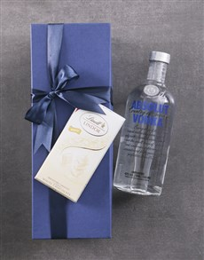 gifts: Blue Box of Absolut Vodka!