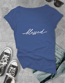 gifts: Cursive Blessed Ladies T Shirt!