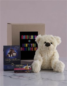 flowers: Good Luck Teddy and Nougat Hamper!