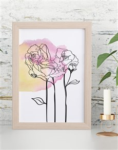 gifts: Sketch Floral Framed Wall Art!