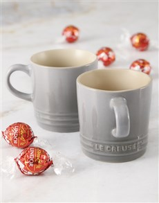 gifts: Le Creuset Mist Grey Cuppachino Mug Hamper x2!