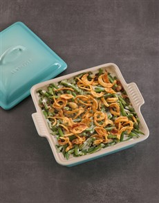 gifts: Le Creuset Cool Mint Square Heritage Dish with Lid!