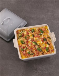 gifts: Le Creuset Mist Grey Square Heritage Dish with Lid!
