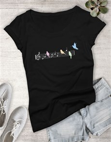 gifts: Song Bird Graphic Ladies T Shirt!