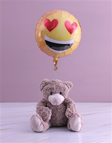 gifts: Love Emoji Teddy And Balloon Gift!