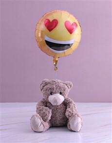 gifts: Love Emoji Teddy And Balloon Gift!