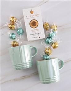 gifts: Le Creuset Metallic Cool Mint Mug Set !