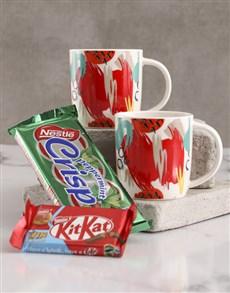 gifts: Red Brushstroke Print Mug Hamper !