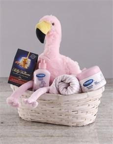 gifts: Baby Girl Flamingo Gift Basket!