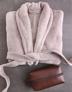 gifts: Charcoal Fleece Gown And Wash Bag Gift Set!