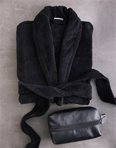 gifts: Black Fleece Gown And Wash Bag Gift Set!