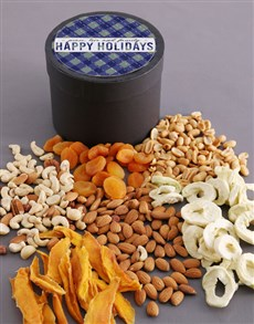 gifts: Happy Holidays Fruit And Nuts Hat Box!