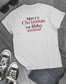 gifts: Filthy Animal Christmas T Shirt!