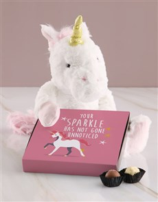 gifts: Unicorn Teddy With Chocolate Tray!