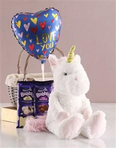 gifts: Unicorn Chocolate Basket With Balloon!