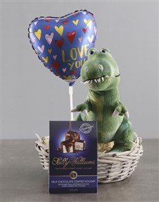 gifts: Dinosaur Teddy With Chocolate Basket !