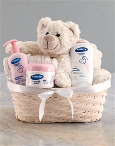 gifts: Teddy Bear Girl Nappy Basket!