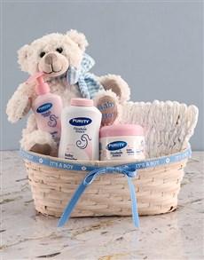 gifts: Teddy Bear Boy Nappy Basket!