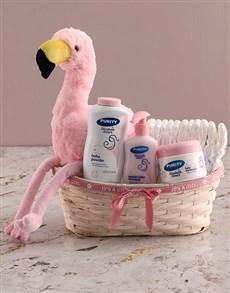 gifts: Teddy Flamingo Plush Nappy Basket!