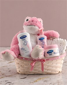 gifts: Pink Frog Teddy Nappy Basket!