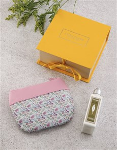 gifts: Loccitane Verbena Lotion And Floral Cosmetic Bag!