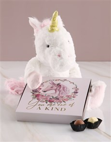 gifts: One Of A Kind Unicorn Teddy With Chocolate Tray!