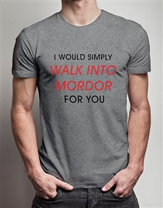 gifts: Walk Into Mordor Grey Tshirt!