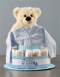gifts: Its A Boy Teddy And Clothing Nappy Cake!