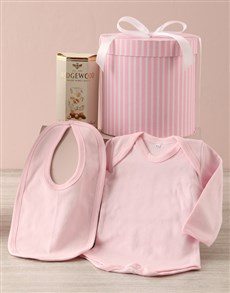 gifts: Pink Striped Baby Clothing Hat Box Hamper !