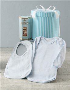 essentials: Blue Striped Baby Clothing Hat Box Hamper !