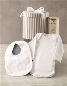 essentials: Grey Striped Baby Clothing Hat Box Hamper!