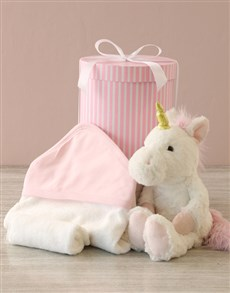 essentials: Unicorn And Baby Bath Time Hat Box Hamper!
