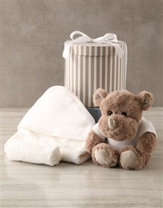 essentials: Rhino And Baby Bath Time Hat Box Hamper!