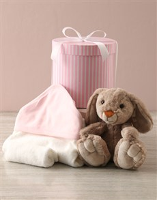 essentials: Bunny And Baby Pink Bath Time Hat Box Hamper!