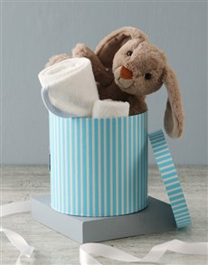 essentials: Bunny And Baby Blue Bath Time Hat Box Hamper!