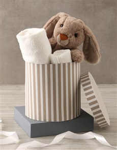 gifts: Bunny And Baby Grey Bath Time Hat Box Hamper!