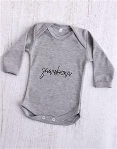 gifts: Sawubona Grey Baby Onesie!