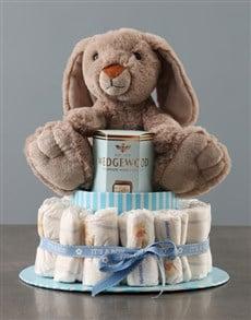 gifts: Yummy Bunny Blue Nappy Cake!