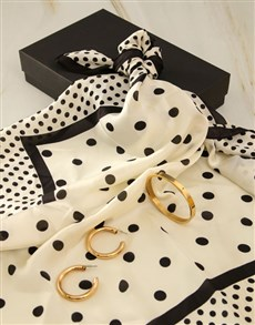 gifts: White And Black Polka Dot Silk Scarf Combo!