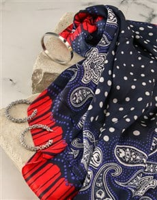 gifts: Navy And Red Polka Dot Silk Scarf Combo!