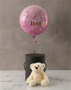 gifts: Pink New Baby Plush Bear and Balloon Box!
