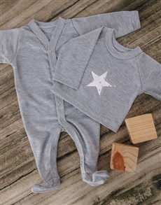 gifts: Grey Star Baby Outfit!