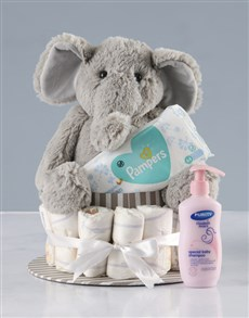 gifts: New Baby Bath Time and Elephant Nappy Cake!